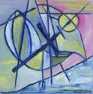 Óleo sobre lienzo cubista azul 40x40